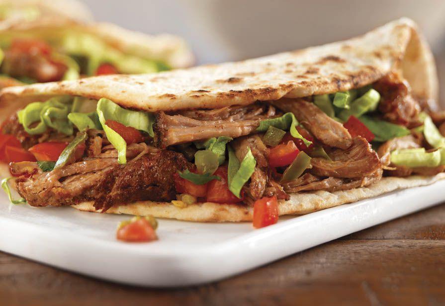 Tacos al maiale sfilacciato