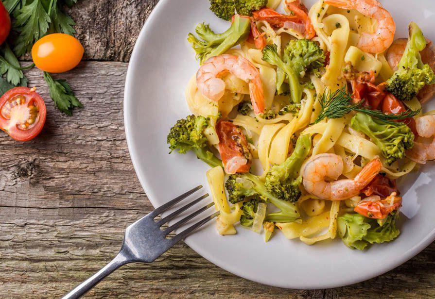 Tagliatelle gamberi e broccoli