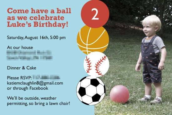 Let's Have a Ball! Ball-Themed Birthday Party Invitations from Pick Any Two