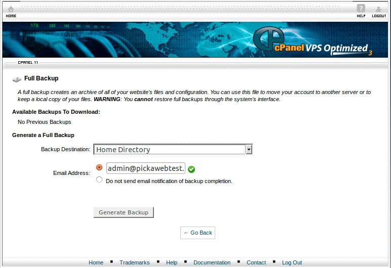 cPanel Backup configuration and restore tutorial