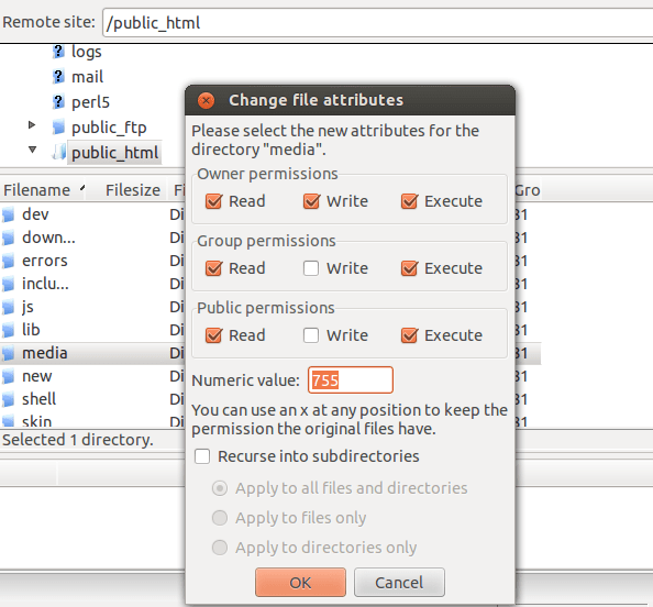 How to Change File and Folder Permissions using FileZilla