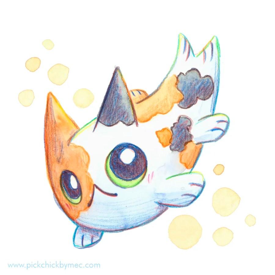 Nekoi gato pez ilustracion acuarela kawaii