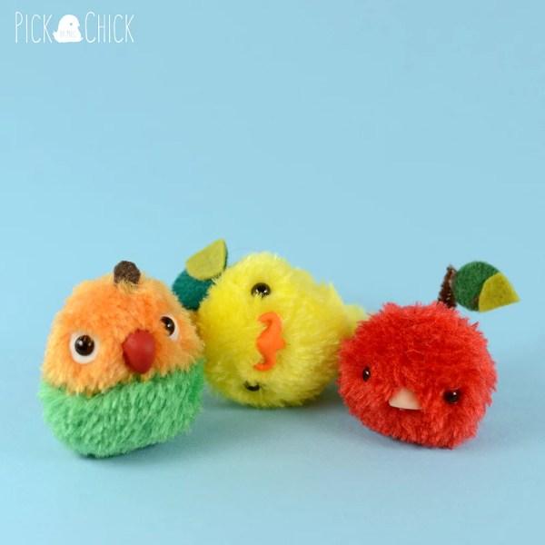 Peluche de pollito Limón, Mangoporni y Cherrybird