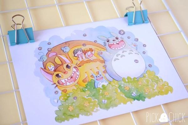 Lámina print de Totoro de ilustración en acuarela infantil.