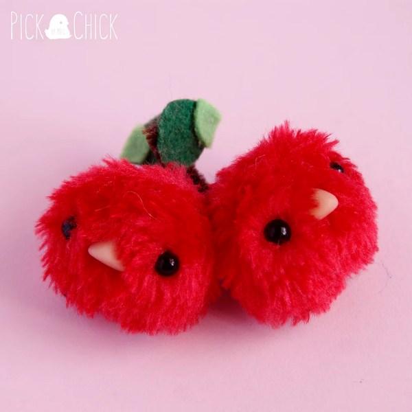 Peluche miniatura Cherry bird hecho a mano kawaii