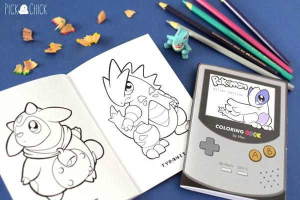 Fanzine libro de colorear pokemon oro y plata kawaii tyranitar