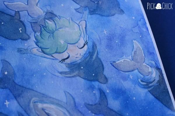 acuarela sirena delfines noche