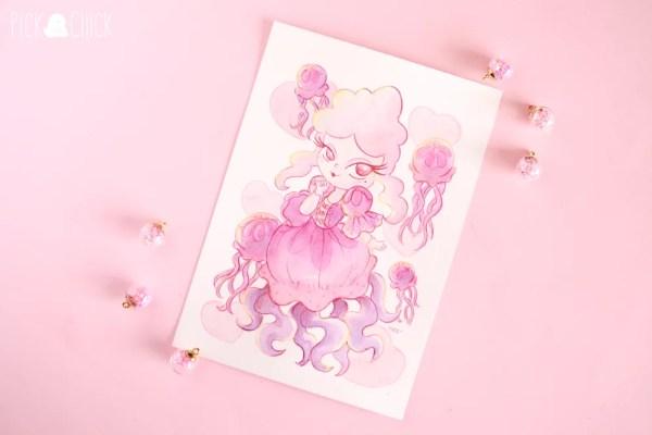 acuarela sirena rococo medusa