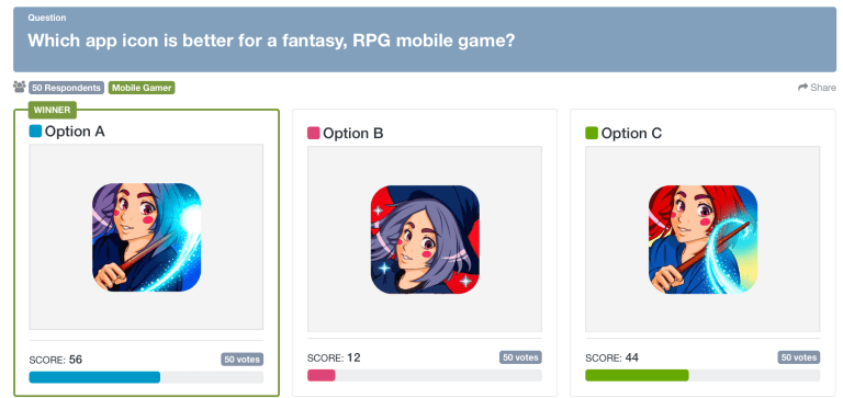 user vs. usability testing: screenshot of a PickFu poll for a mobile gaming app icon