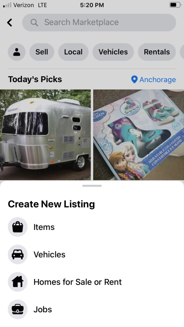 How to sell on Facebook Marketplace: Screenshot of sell page