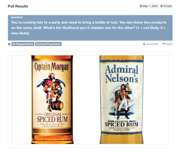 Screenshot of two rum bottles in PickFu poll