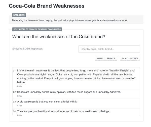 PickFu Coca-Colar brand audit screenshot