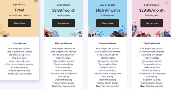 Screenshot of Big Cartel's pricing plans