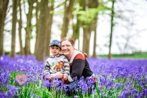 Mum and son in the bluebells. Shot by swindon wedding photographer, pickin images photography