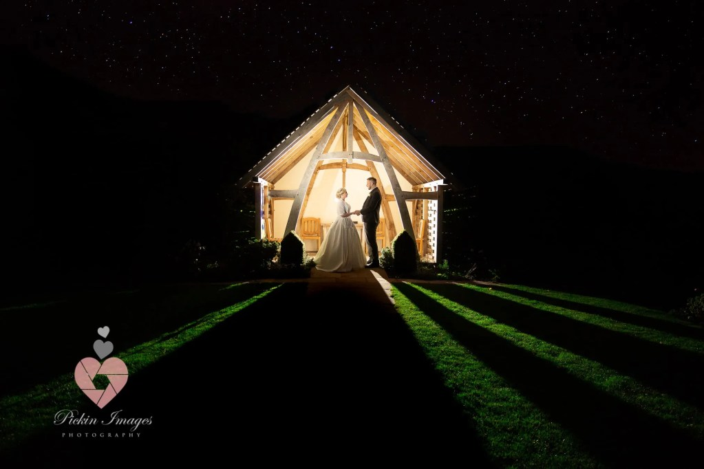 Bride and groom posed at night under the stars.