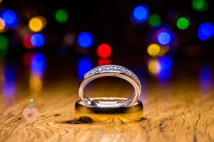 The wedding rings set up by photographer pickin images for photos.