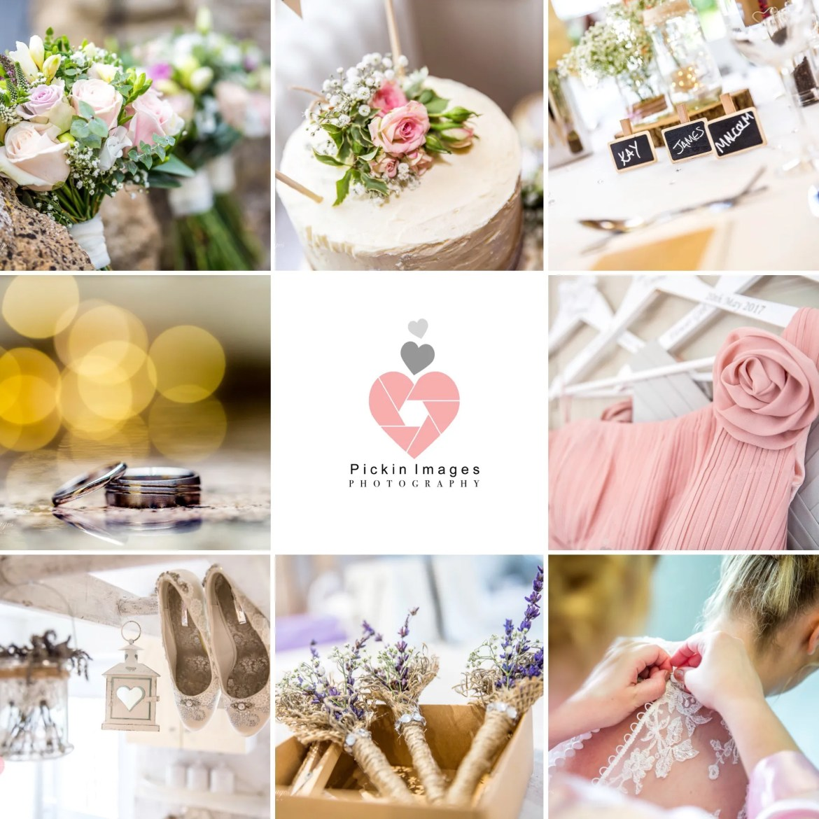 A collection of details shots of a wedding taken by Swindon wedding photographer, Pickin-images-Photography