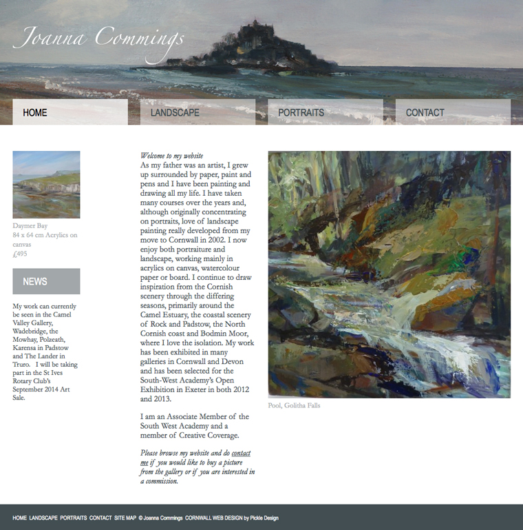 The artist Joanna Commings' website design