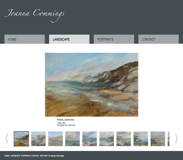 Gallery design for Joanna Commings website