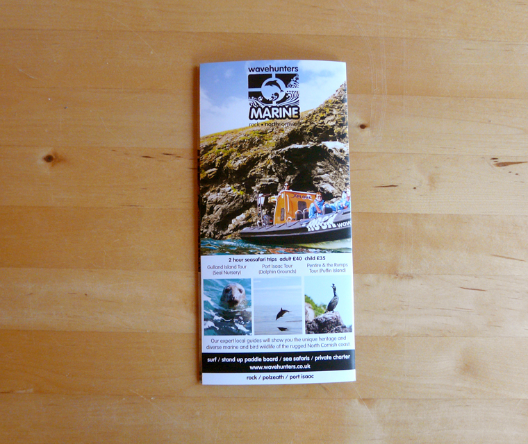 Back cover of the Wavehunters Surf School leaflet