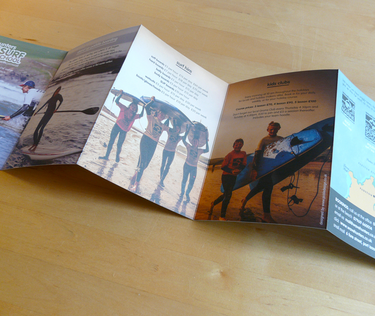 Concertina fold Wavehunters Surf School leaflet design
