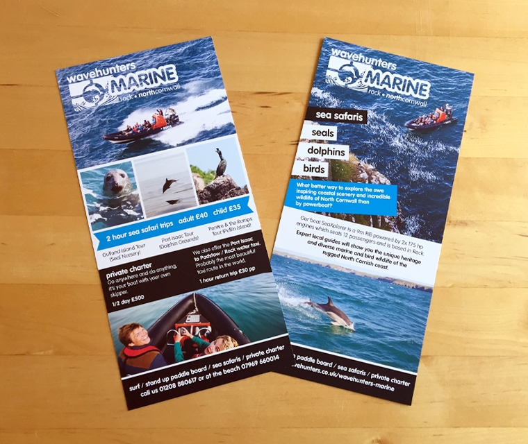 DL leaflet flyers designed for Wavehunters Marine