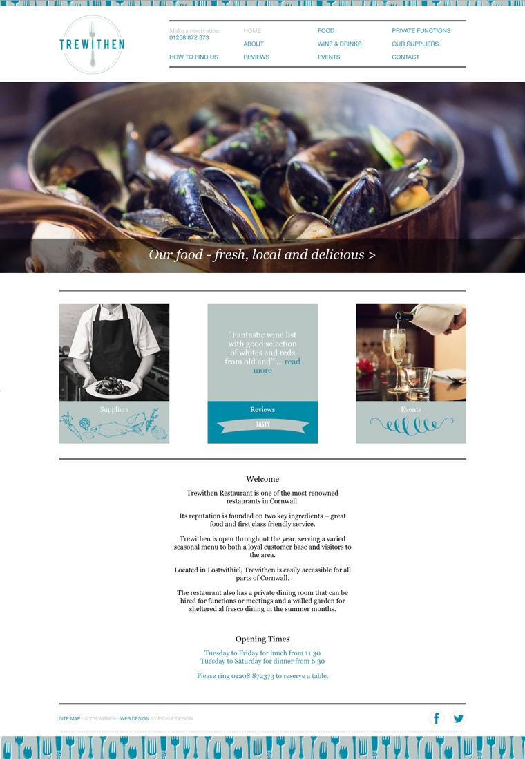 Website design for Trewithen Restaurant