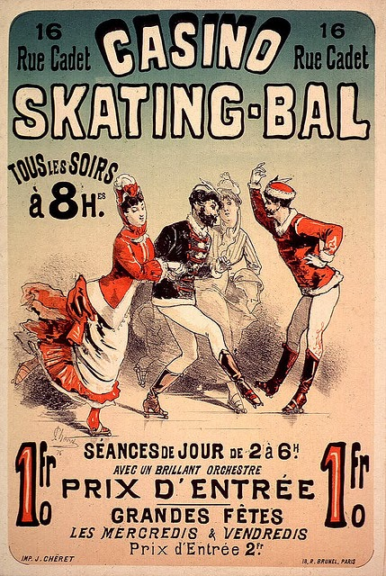Poster design for the Roller-Skating at Casino Skating-Bal, by Jules Chéret