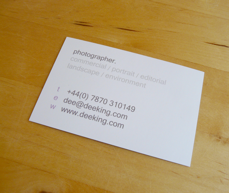 Business card design Dee King Photography