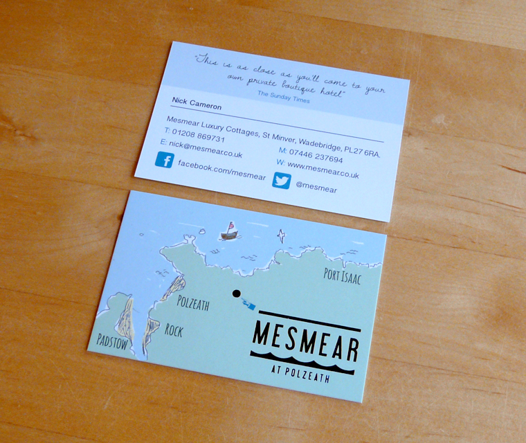 Business card design for Mesmear Luxury Cottages with hot foil