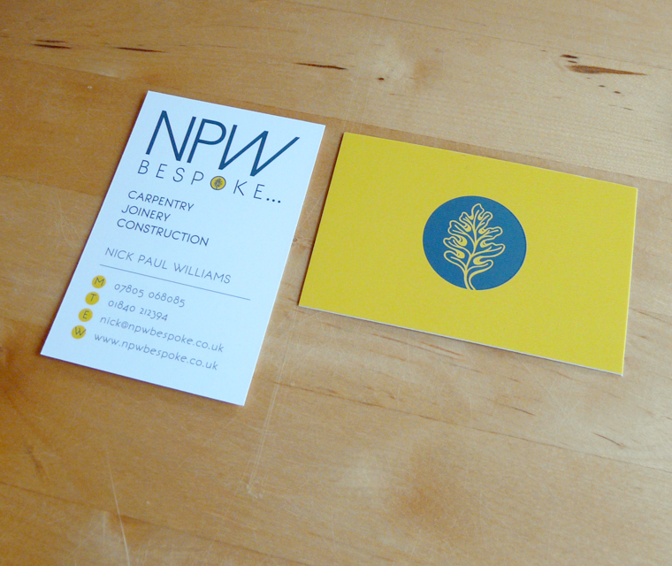 Business card design with spot UV varnish for NPW Bespoke carpentry