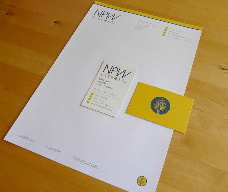 Stationery design for NPW Bespoke carpentry