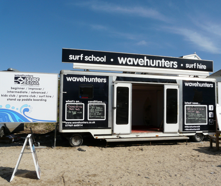Trailer graphics design for Wavehunters Surf School