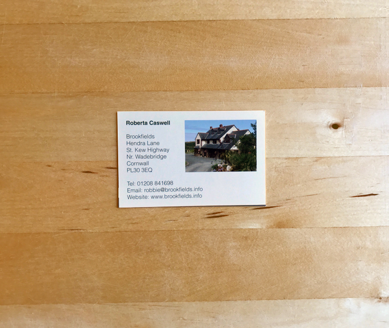 Brookfields B&B business card