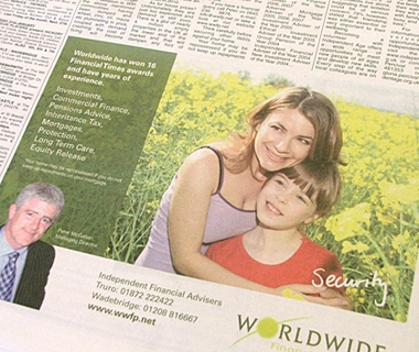 Newspaper advert design for Worldwide Financial Planning