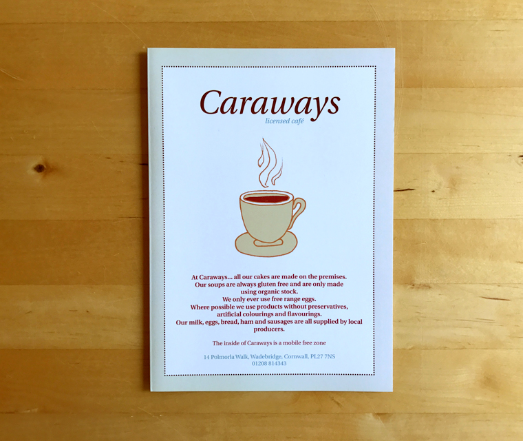 Caraways Menu illustrated and designed by Pickle Design
