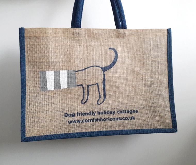 Illustrated sausage dog on a canvas tote bag
