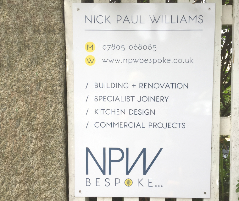 Sign for NPW Bespoke carpenter