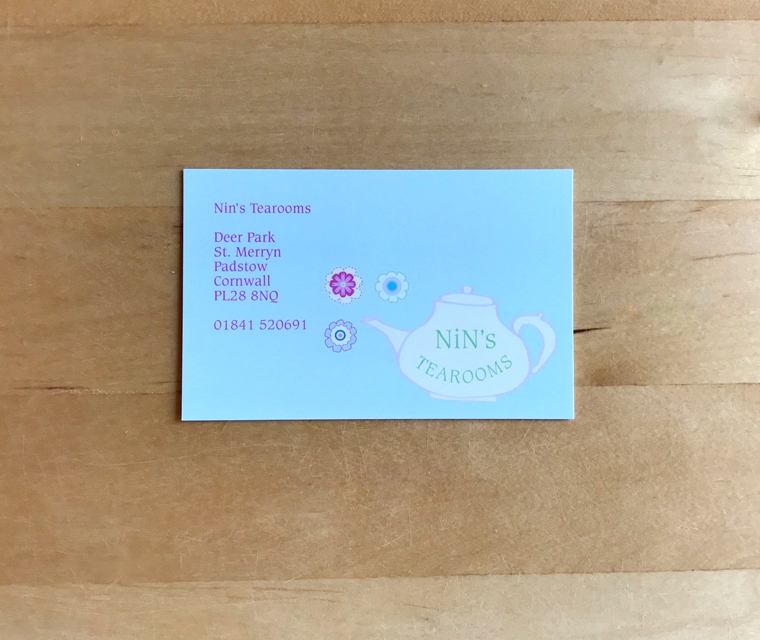 Nin's Tearoom business card