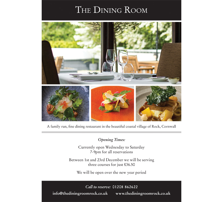 The Dining Room restaurant Rock advert by Pickle Design. The Dining Room Restaurant Website Design