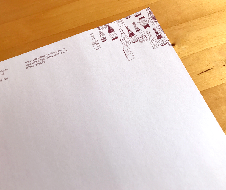 Wadebridge Wines double sided letterhead