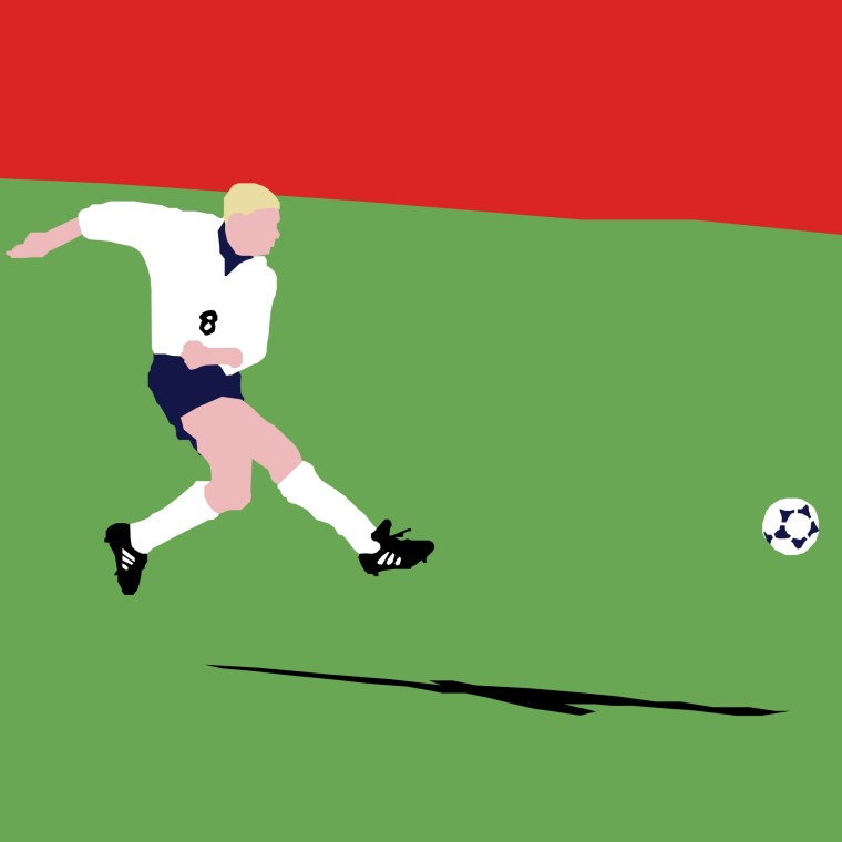 Illustration of Paul Gascoigne for England in 1996