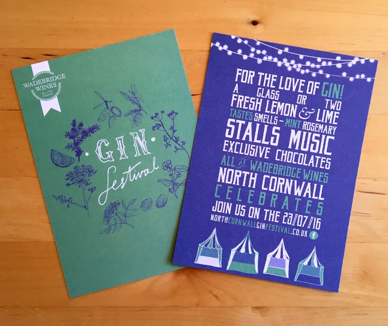 Wade bridge Wines Gin Festival postcards