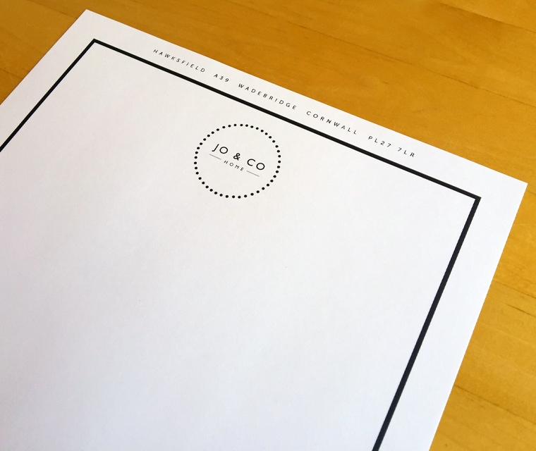 Jo & Co letterhead close up