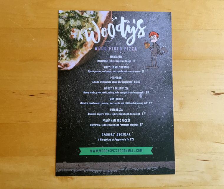 Woody's pizza menu back
