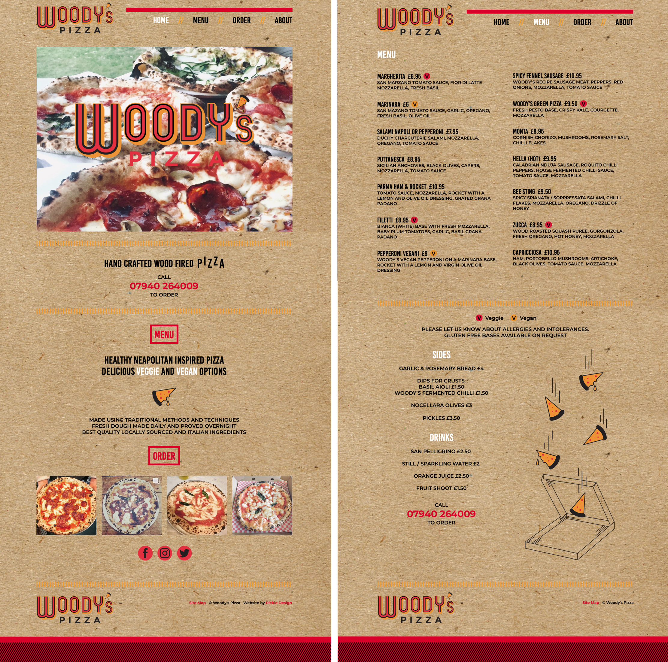 Home and menu page