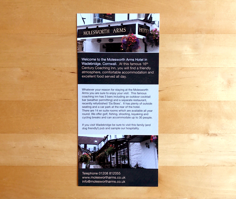 The Molesworth Arms leaflet