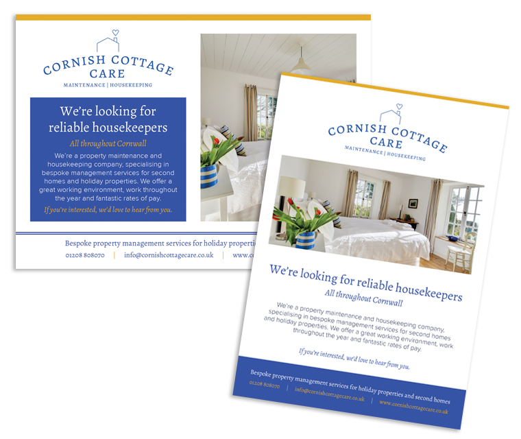 Advert design for Cornish Cottage Care