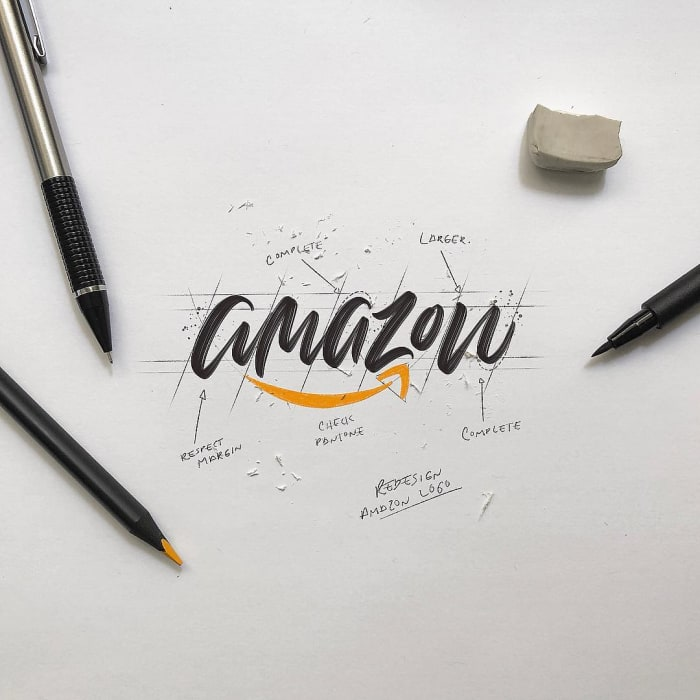 Hand typography of the Amazon logo