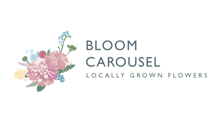 Bloom Carousel florist linear logo with illustration